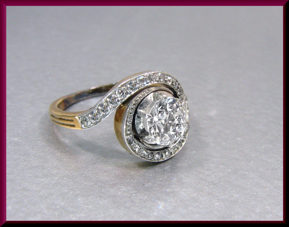 Antique Vintage Edwardian 14K Yellow Gold and Platinum Old European Cut Diamond Engagement Ring Wedding Ring