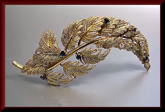 Vintage Tiffany and Company Designer 18k Yellow Gold Diamond and Sapphire Leaf Pin