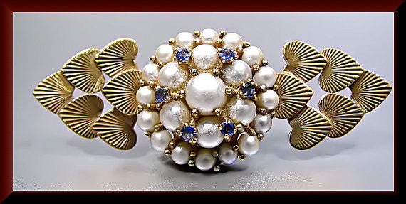 Vintage Tiffany and Company 14k Yellow Gold Pearl and Sapphire Heart Pin