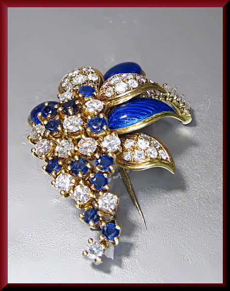 Antique Vintage 18K Yellow Gold Diamond, Sapphire and Blue Enamel Spray Brooch/Pin