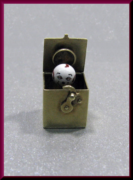Vintage 14K Yellow Gold and Enamel Jack In the Box Movable Charm