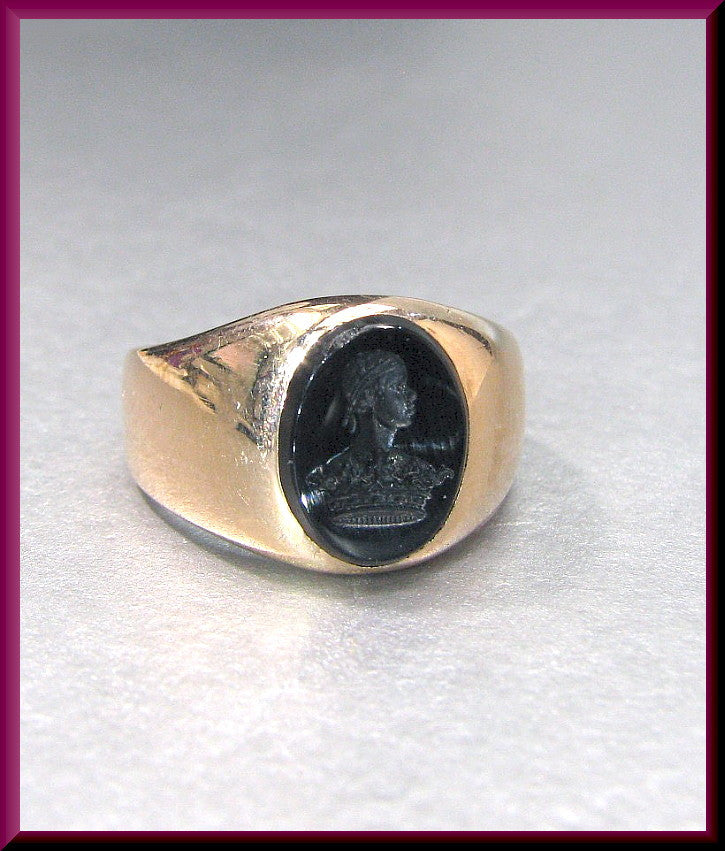 Antique Vintage Victorian 14K Pink Gold Men's Onyx Signet Seal Ring