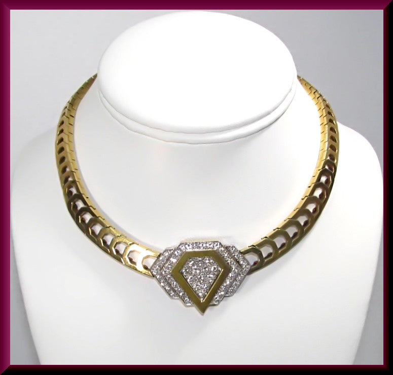 Vintage 18k Yellow Gold and Platinum 1960's 4.00 Ct Diamond Choker Necklace