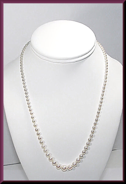 Platinum Vintage Tiffany and Company Graduated Pearl Necklace with Marquis Diamond Clasp