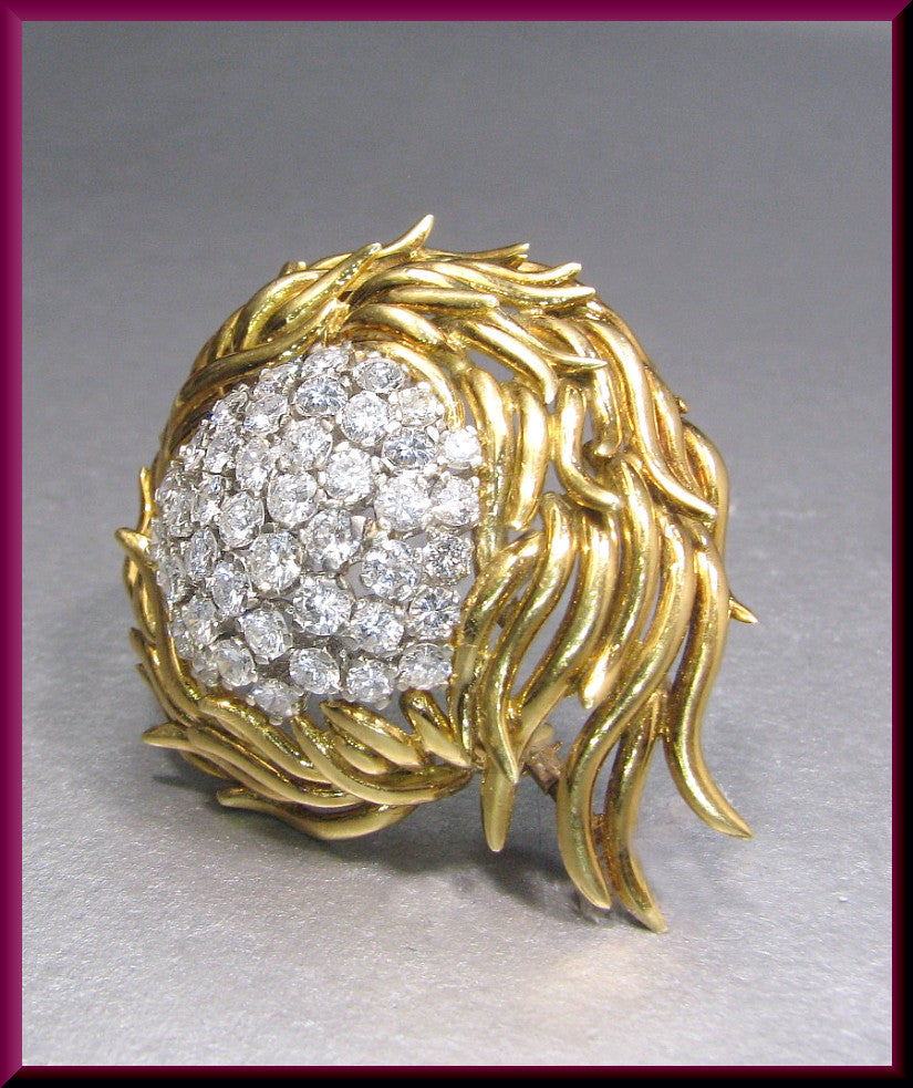 Vintage 1960's 18K Yellow Gold Diamond Spray Pin Brooch