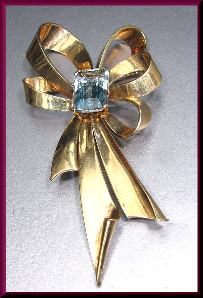 Antique Vintage Retro 1940's 14k Yellow Gold Emerald Cut Aquamarine Bow Pin Brooch