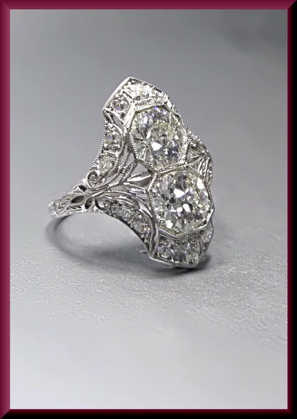 Antique Vintage Art Deco Platinum Diamond Cocktail Dinner Ring