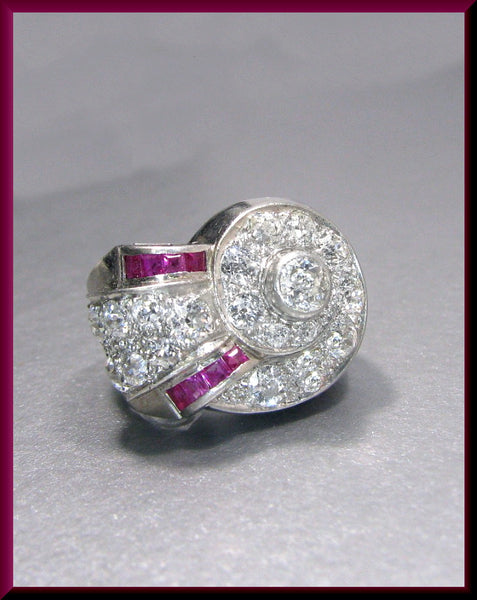 Antique Vintage Retro 1940's White Gold Old European Cut Diamond and Ruby Cocktail Ring Statement Ring