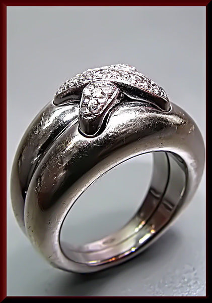 Vintage Designer Signed Chaumet 14K White Gold Band Ring