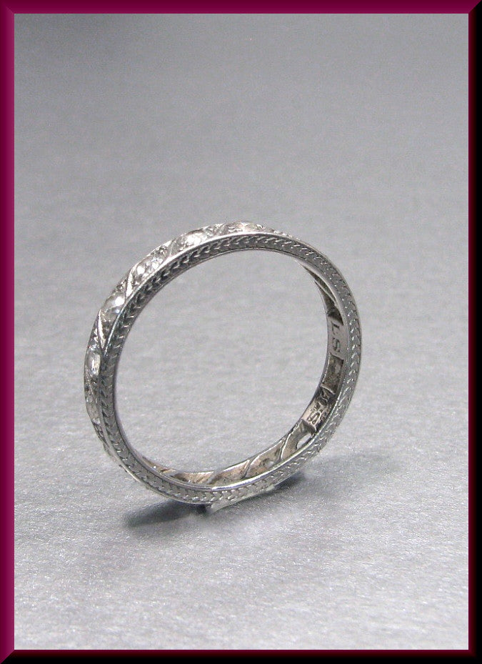 Antique Vintage Platinum Art Deco Engraved Diamond Eternity Band Wedding Band
