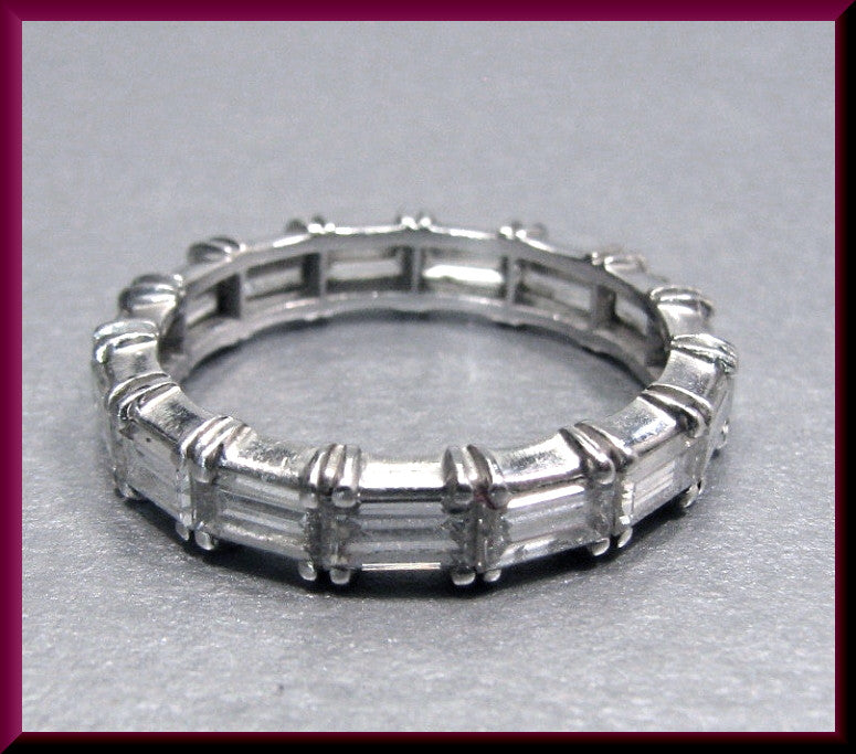 Antique Vintage Platinium 1950's Baguette Diamond Eternity Band Wedding Band