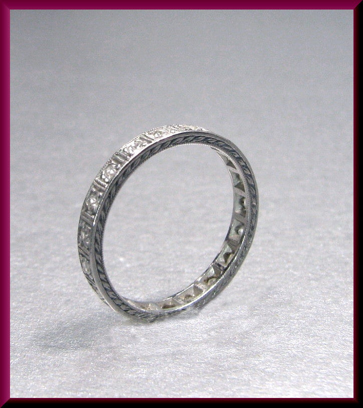 Antique Vintage Art Deco Platinum Engraved Diamond Wedding Eternity Band