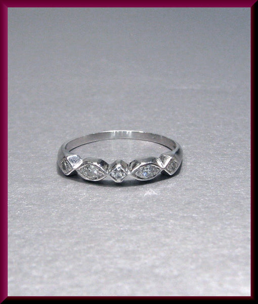 Vintage Platinum Diamond Wedding Band