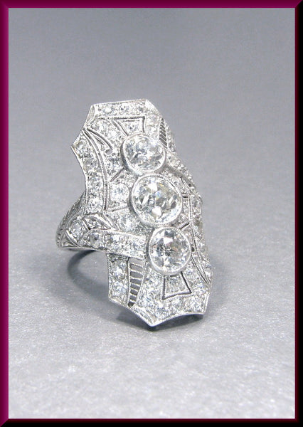 Antique Vintage Platinum Art Deco Old European Cut Diamond Dinner Ring Cocktail Ring Statement Ring