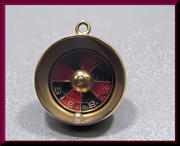 Vintage 1950's 14K Yellow Gold, Black and Red Enamel and Pearl Movable Roulette Wheel Charm