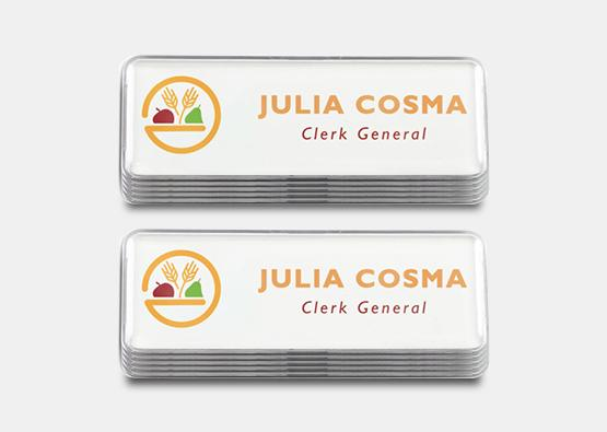 "Rectangle Name Badge Kit, White 1"" x 3"" 100 pcs"