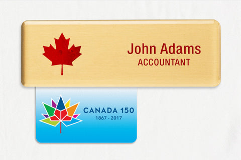 20-Unit Medium Gold Name Badge Kit,  with Canada 150 Badge Talkers