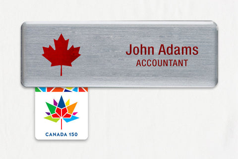 20-Unit Medium Silver Name Badge Kit, with Canada 150 Badge Talkers