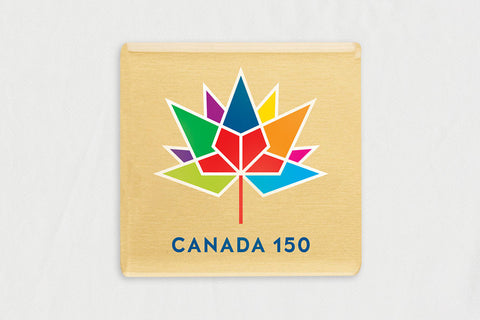 "20-Pack Square Gold 1.62"" x 1.62"" Lapel Pins, with Canada 150 Logo"