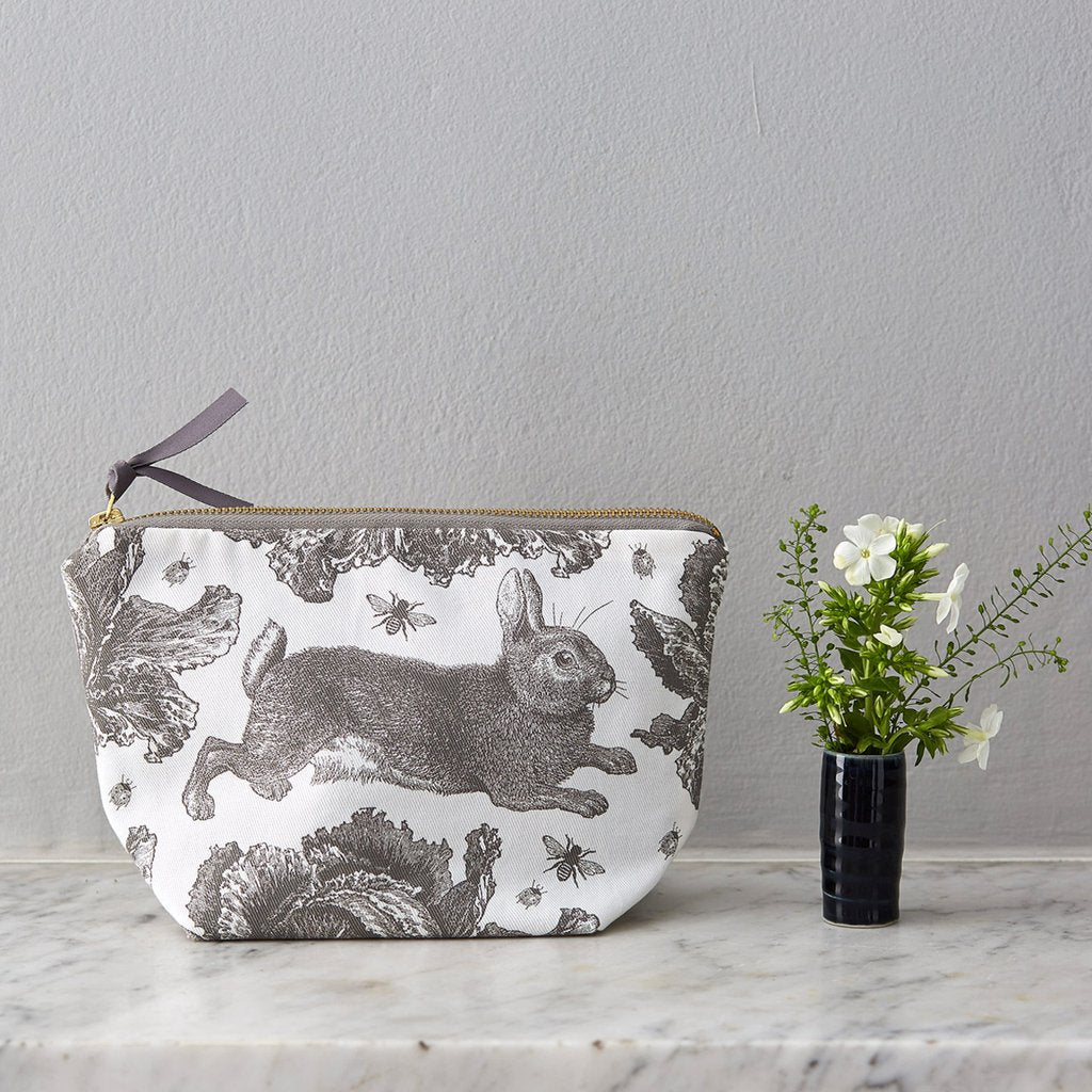 Grey Rabbit & Cabbage Cosmetic Bag By Thornback & Peel