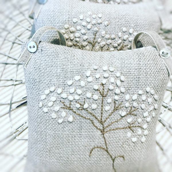 Luxury Cow Parsley Embroidered lavender Squares