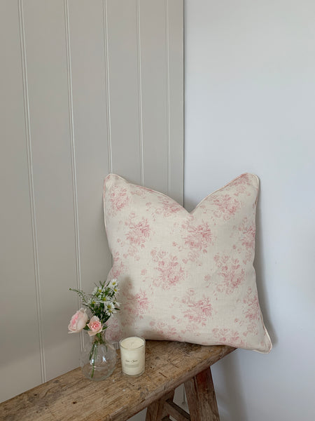 Antique pink P&S Frilly pink stripe cushion
