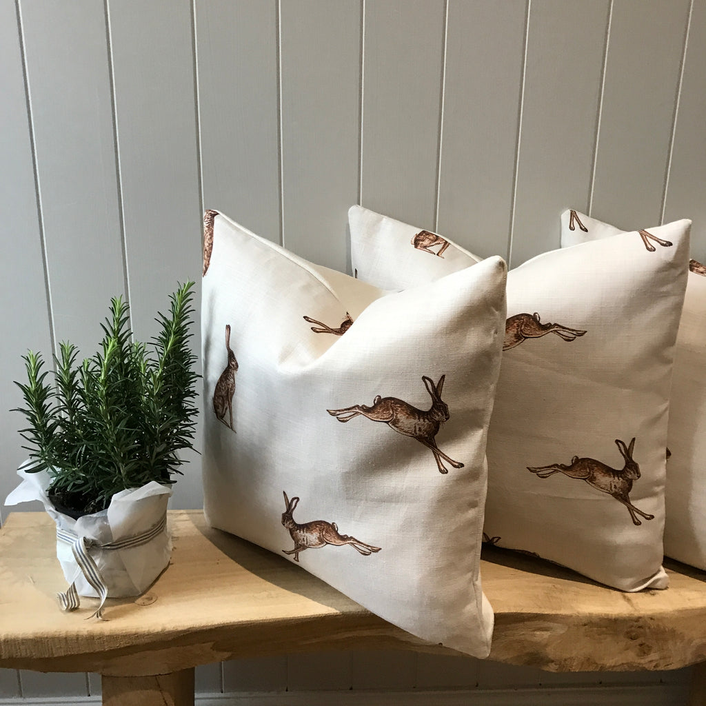 Peony & Sage French Hare cushions