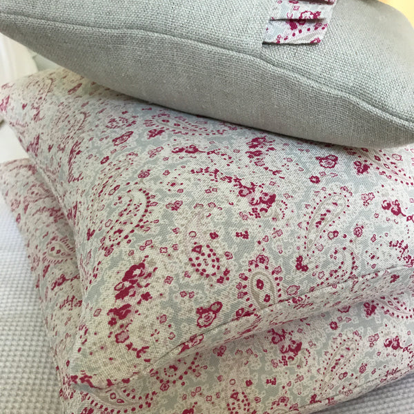Peony & Sage Vintage Linen Cushion with Paisley Frill