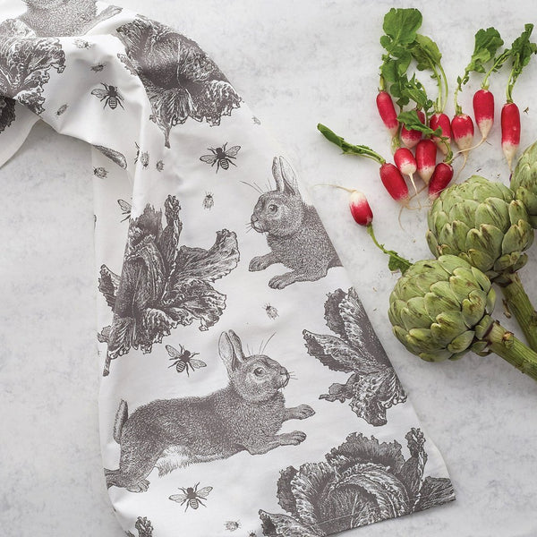 Rabbit & Cabbage Grey Tea Towel by Thornback & Peel