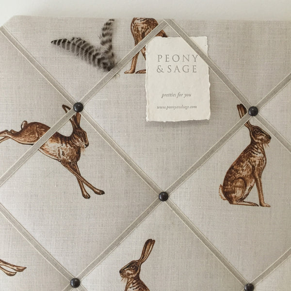 French Memoboard in Peony & Sage French Hares