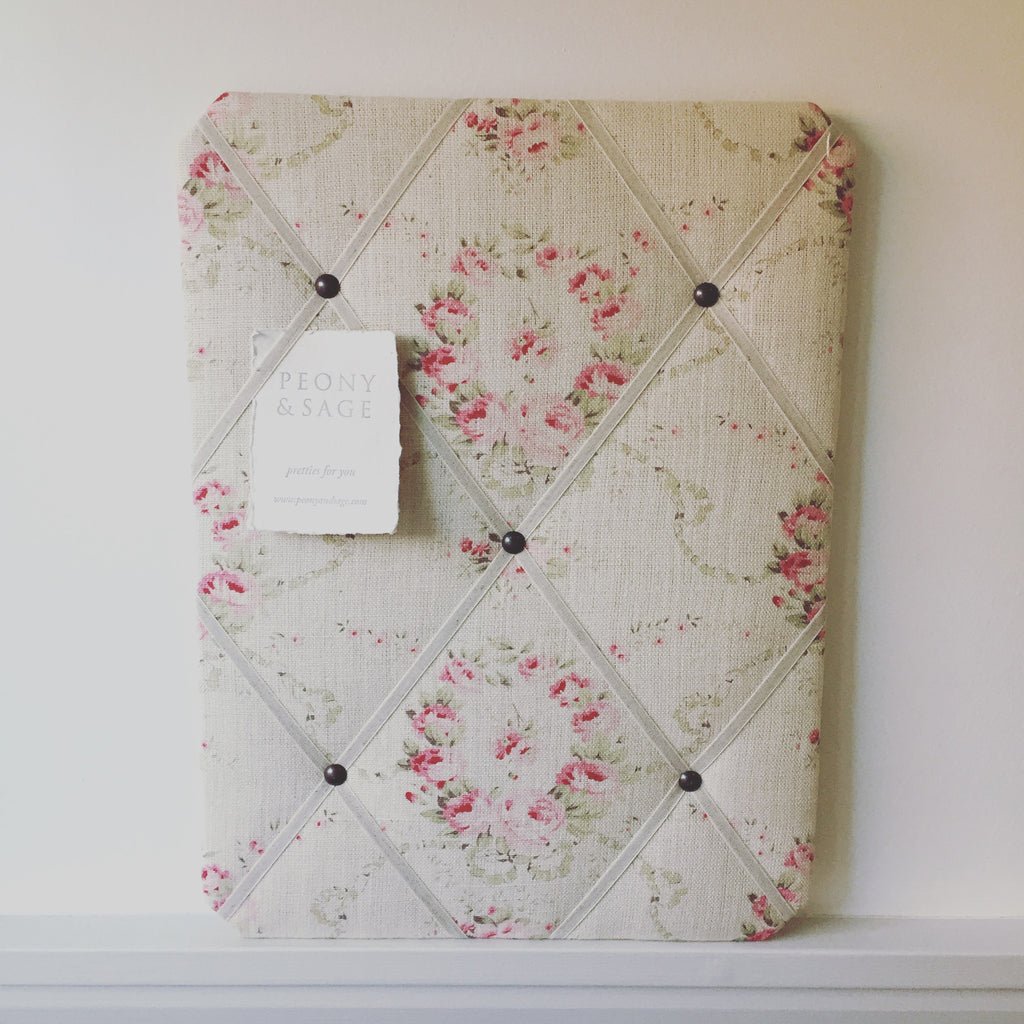 "French Memoboard in Peony & Sage ""Mathilde"""