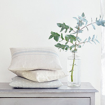 Peony & Sage Danish Stripe Cushion in Ribbon Blue