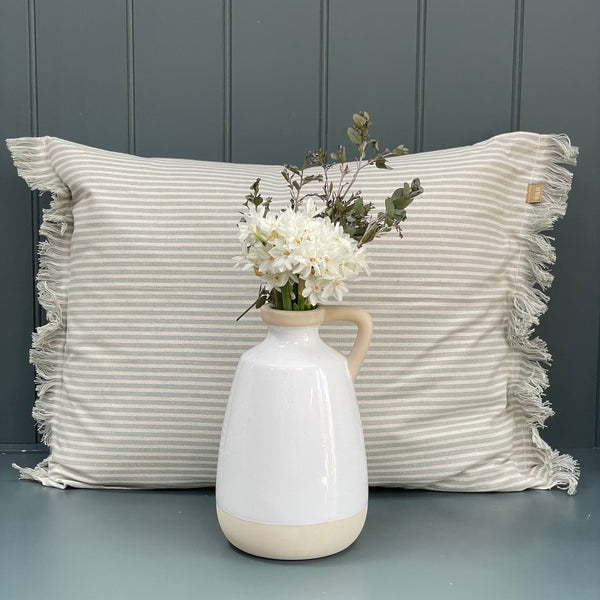 A stunning collection of cotton ticking & velvet cushions