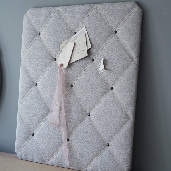 French memoboard in Peony & Sage, India Fog on Stone