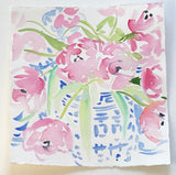 PINK TULIPS IN  BLUE & WHITE