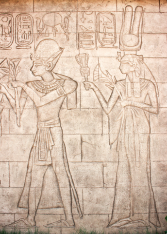 Egyptian carving showing earliest use of flip flops