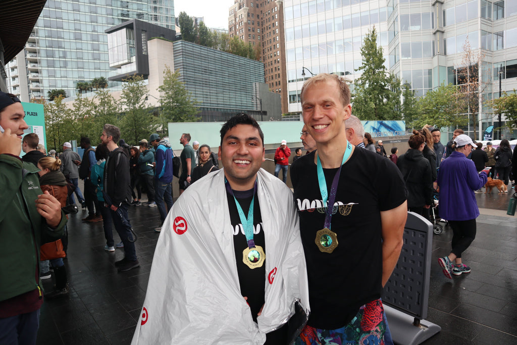 Wiivv CEO Shamil Hargovan and Wiivv Footwear Engineer Chris Bellamy at the Lululemon SeaWheeze Half Marathon 2018