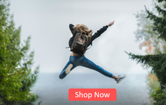 Man leaping with joy wearing premium custom FitMyFoot Insoles