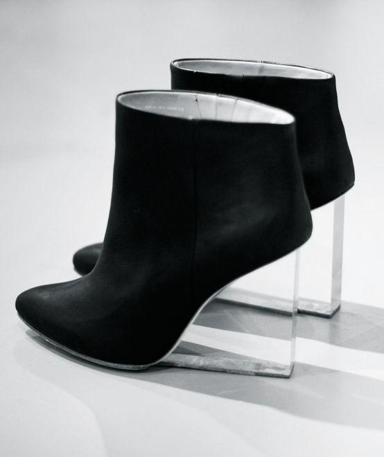 black ankle boots with lucite heel