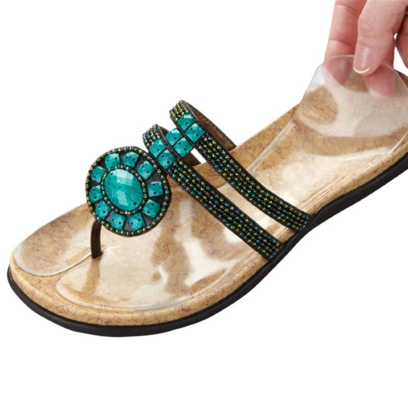 c5d1d5ff54b4 Skip the slip  Pain and tension in calves and arches can also be caused by  your foot slipping in a sandal that has no back strap