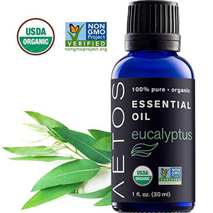 Aetos Organic Eucalyptus Oil, USDA Certified Organic Essential Oils, Non GMO, 100% Pure, Natural, Therapeutic Grade Essential Oil, Best Aromatherapy Scented-Oils for Home, Office, Personal Use - 1 Oz by Aetos Essential Oils