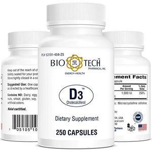 BioTech Pharmacal - D3 (1000 IU) - 250 Count by BioTech Pharmacal