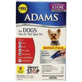 Adams Flea and Tick Control Topical Spot-On 3-Month For Dogs 6-12 Lbs. FREE APPLICATOR by Adams