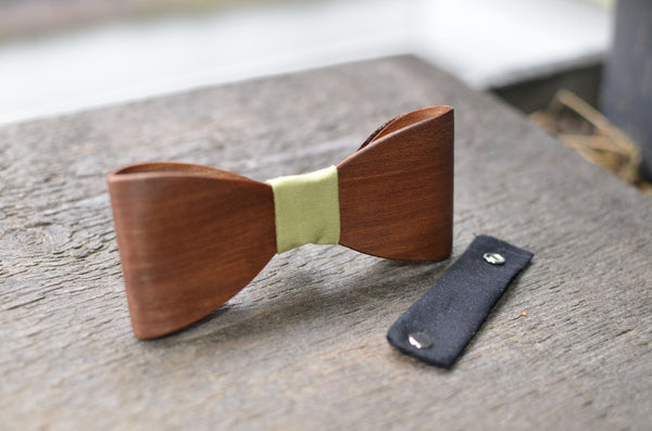 Wood Bow Tie with Leather Neck Piece CHERRY