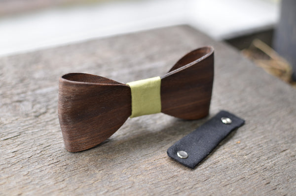 Wood Bow Tie with Leather Neck Piece WALNUT