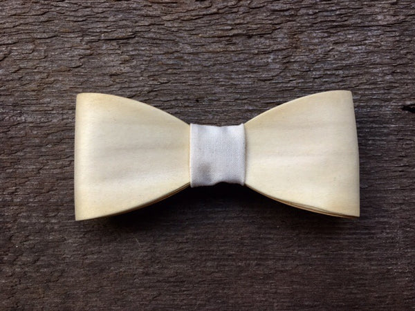 Exclusive White Treated Maple Wood Bow Tie
