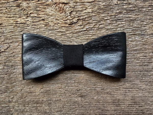 Exclusive Black Treated Walnut Wood Bow Tie