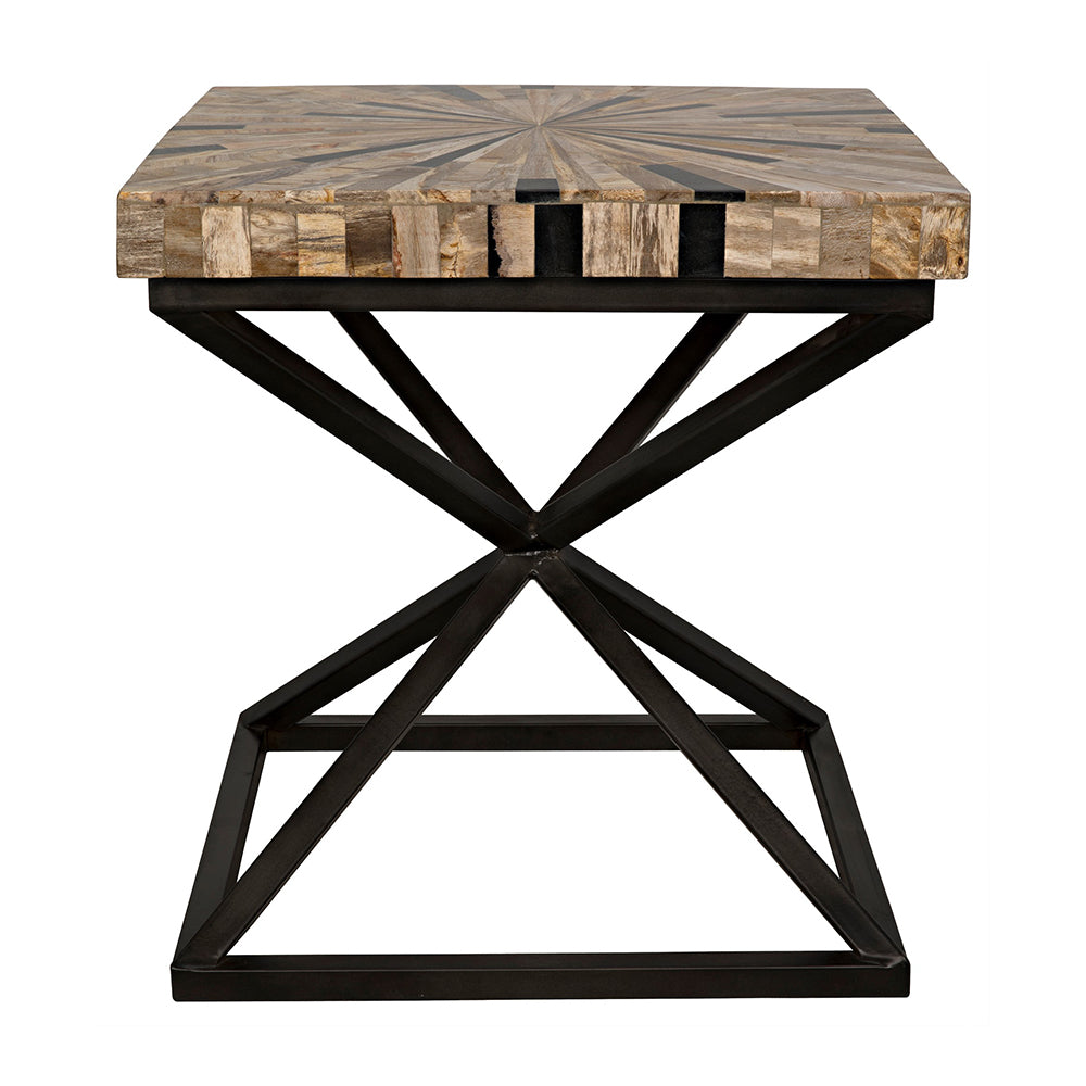 Noir - Peleus Side Table, Fossil and Metal