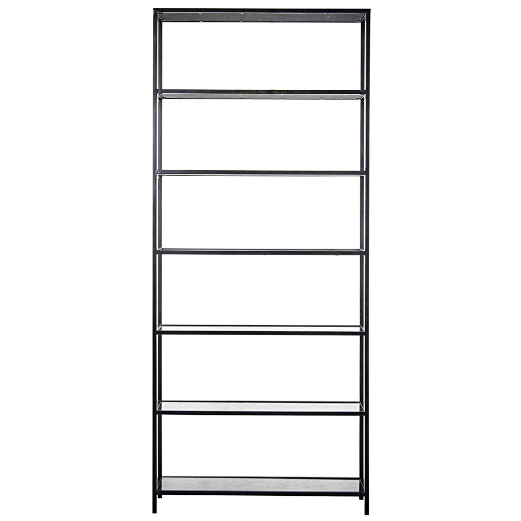 Noir - Zhao Bookcase, Metal/ Antique Glass