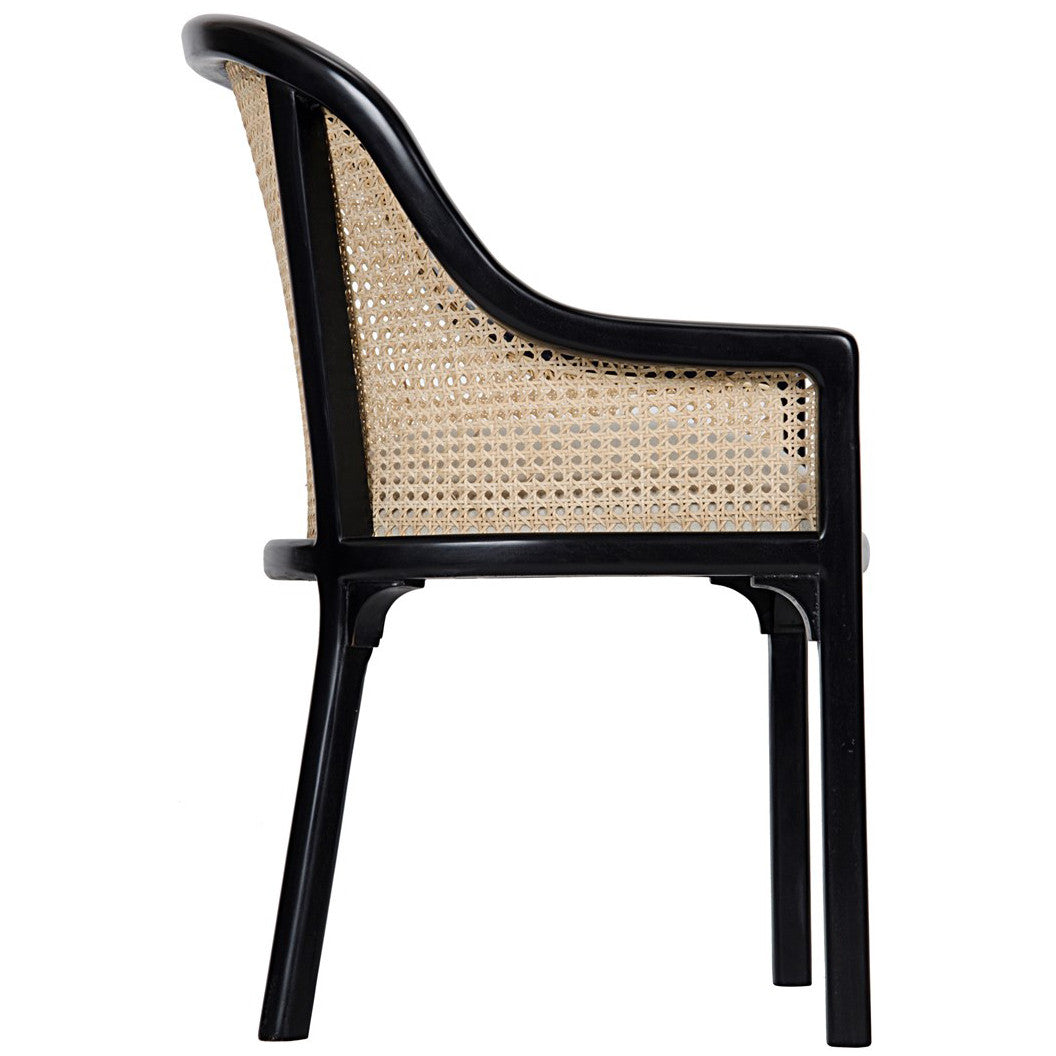 Noir - Gaston Chair W/ Caning and Linen